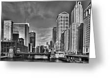 Chicago River In Black And White Greeting Card by Sebastian Musial