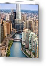 Chicago River Sunrise Greeting Card by Steve Gadomski