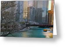 Chicago River Sunset Greeting Card by Jeff Kolker
