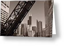 Chicago River Traffic BW Greeting Card by Steve Gadomski