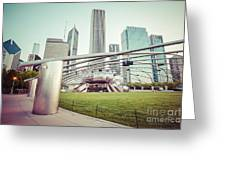 Chicago Skyline With Pritzker Pavilion Vintage Picture Greeting Card by Paul Velgos