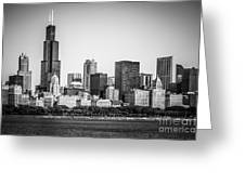 Chicago Skyline With Sears Tower In Black And White Greeting Card by Paul Velgos