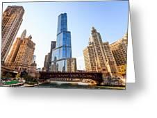Chicago Trump Tower At Michigan Avenue Bridge Greeting Card by Paul Velgos