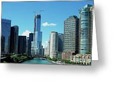 Chicago Trump Tower Under Construction Greeting Card by Thomas Woolworth