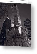 Chicago Water Tower Panorama B W Greeting Card by Steve Gadomski