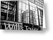 Chicago Willis Tower Sign in Black and White Greeting Card by Paul Velgos