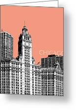 Chicago Wrigley Building - Salmon Greeting Card by DB Artist