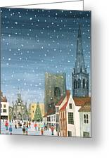 Chichester Cathedral A Snow Scene Greeting Card by Judy Joel