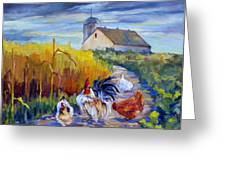Chickens in the Cornfield Greeting Card by Peggy Wilson
