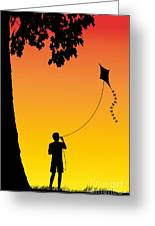 Childhood Dreams 1 The Kite Greeting Card by John Edwards