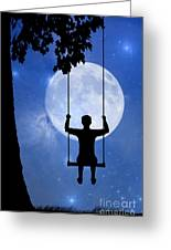 Childhood Dreams 2 The Swing Greeting Card by John Edwards