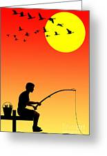 Childhood Dreams 3 Fishing Greeting Card by John Edwards