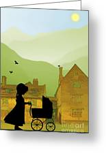 Childhood Dreams The Pram Greeting Card by John Edwards