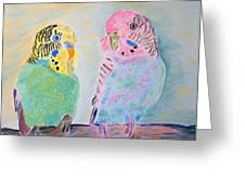 Childhood Parakeets Greeting Card by Meryl Goudey