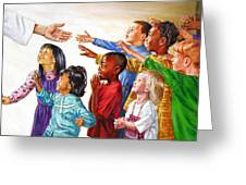 Children Coming To Jesus Greeting Card by John Lautermilch