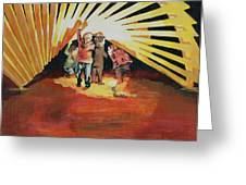 Children Playing at Sculpture Greeting Card by Robert Yaeger