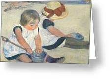 Children Playing On The Beach Greeting Card by Mary Stevenson Cassatt