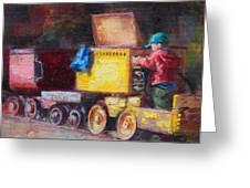 Child's Play - Gold Mine Train Greeting Card by Talya Johnson