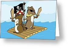 Chipmunk Pirate Dash And Scoot Greeting Card by Christy Beckwith