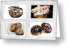 Choice Of Donuts 4 X 4 Collage 1 - Bakery - Sweets Shoppe Greeting Card by Andee Design