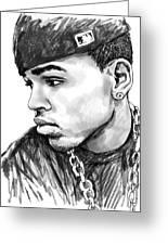 Chris Brown Art Drawing Sketch Portrait Greeting Card by Kim Wang