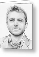 Chris Hardwick Greeting Card by Olga Shvartsur
