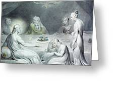Christ In The House Of Martha And Mary Or The Penitent Magdalene Greeting Card by William Blake