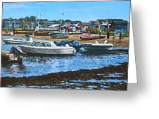 Christchurch Hengistbury Head Beach With Boats Greeting Card by Martin Davey