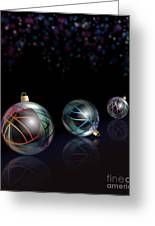 Christmas Baubles Reflected Greeting Card by Jane Rix