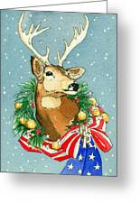 Christmas Buck Greeting Card by Katherine Miller
