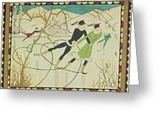 Christmas Card With Figure Skaters Greeting Card by American School