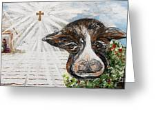 Christmas Cow - Oh To Have Been There... Greeting Card by Eloise Schneider