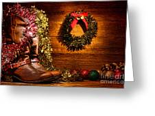Christmas Cowboy Boots Greeting Card by Olivier Le Queinec