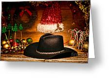 Christmas Cowboy Hat Greeting Card by Olivier Le Queinec