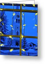 Christmas Decoration - Yellow Stars And Blue Church Greeting Card by Matthias Hauser