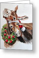 Christmas Donkeys Greeting Card by Carole Powell