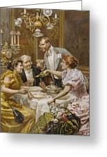 Christmas Eve Dinner In The Private Dining Room Of A Great Restaurant Greeting Card by Ludovico Marchetti