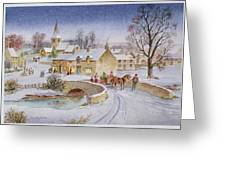 Christmas Eve In The Village Greeting Card by Stanley Cooke