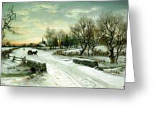 Christmas Morn Greeting Card by W C Bauer