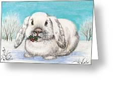 Christmas Rabbit Greeting Card by Margaryta Yermolayeva