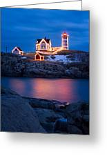 Christmas Time At Nubble Light. Greeting Card by Jeff Sinon