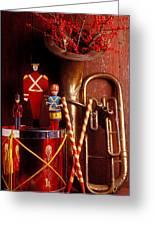Christmas Tuba Greeting Card by Garry Gay