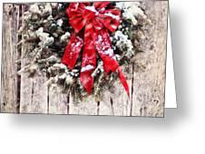 Christmas Wreath on Barn Door Greeting Card by Stephanie Frey
