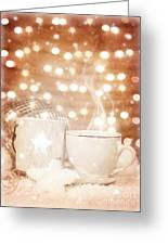 Christmastime Coffee Greeting Card by Anna Omelchenko