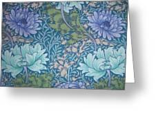 Chrysanthemums in Blue Greeting Card by William Morris
