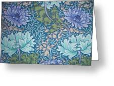 Chrysanthemums In Blue Greeting Card by William Morris