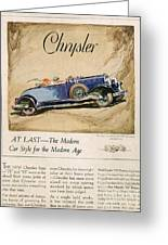 Chrysler 1928 1920s Usa Cc Cars Greeting Card by The Advertising Archives