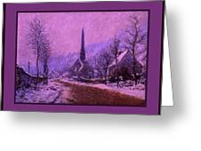 Church At Jeufosse Snowy Weather Enhanced Triple Border Greeting Card by Claude Monet - L Brown