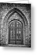 Church Door Monochromatic Greeting Card by Antony McAulay