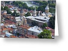 Churches By The Mtkvari River In Tbilisi Greeting Card by Robert Preston